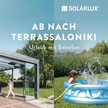 Solarlux Werbung Terrassendach Sommer